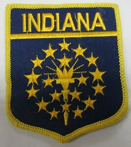 Indiana State Flag Embroidered Patch 10 PC 3 x 3.5 inch Emblem Wholesale