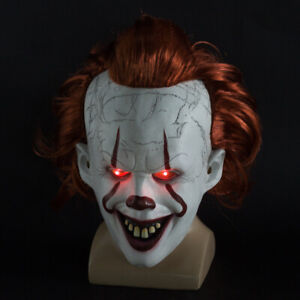 LED Stephen Kings Es Maske Pennywise Horror Clown Joker Halloween Cosplay DE