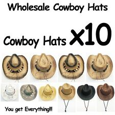 WHOLESALE Cowboy Hats 10 Assorted Variety with real straw Western Style 10 Hats