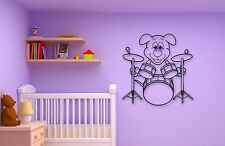 Wall Stickers Vinyl Decal Positive Puppy Dog Drum Music for Nursery (ig318)