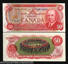 CANADA 50 DOLLARS P90A 1975 KING MOUNTED POLICE ON HORSE UNC LAWSON / BOUEY NOTE