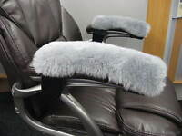 """Grey pair 10"""" long Merino Sheepskin Arm Rest Covers PADS Office Wheel Chair Arms"""