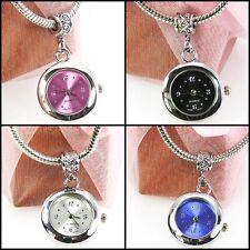 4pcs Silver Quartz Watches European Spacers Charms Beads For Bracelet Necklace