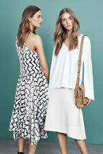 New COUNTRY ROAD Black Cream Monochrome Handkerchief Hem Midi Dress Fits 12 $249
