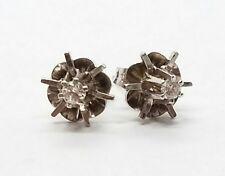 Modern Stud Unique Design Star Diamond 14k White Gold Ladies Earrings