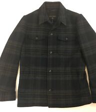 Banana Republic Men's Wool Coat Plaid Blue Black Gray New Small Nwt