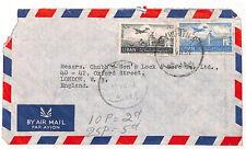 UU196 1952 LEBANON AIRS London GB Cover {samwells-covers}