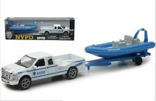 NEW RAY 1:43 NYPD Ford F-250 SuperDuty Diecast Pickup Truck With POLICE BOAT 5""