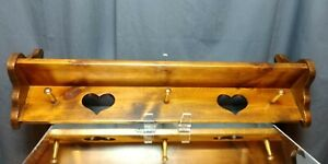 VINTAGE! 3 Foot Coat Rack Antiqued Old Tavern Pine Heart Country Cabin Chic