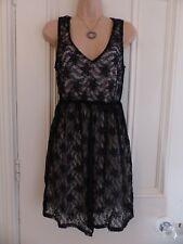 Pussycat London size M little black lace dress cream lining, elasticated waist