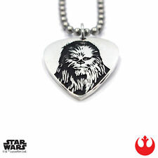 "Han Cholo STAR WARS Silver Chewbacca Guitar Pick Pendant Necklace 30"" NEW"