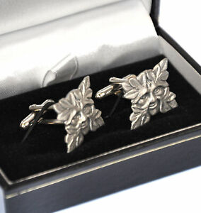 Green man Pewter Cufflinks wedding groom best man shirt cuff links