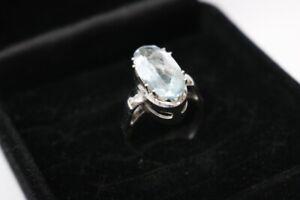 585.Weißgold Damen Ring mit Aquamarin