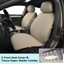 2 poly cloth front seat covers + 1 tissue holder for BMW Tan 2805