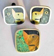 Pin+Earrings~Married Metals Brooch Set 1950s Sterling Metales Casados Parrot