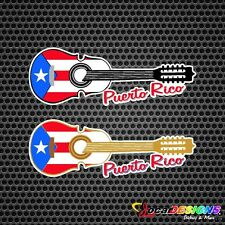 2x CUATRO PUERTORRIQUEÑO WITH PUERTO RICO FLAG CAR VINYL STICKERS DECALS
