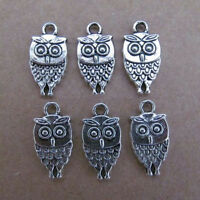PJ27 40pc 9.5*18mm Tibetan Silver Dangle Charm Double-sided Beads OWL Animals