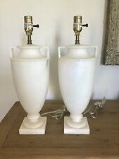 Pair VAUGHAN Solid White Marble Modern Urn Form Lamps Rich Estate