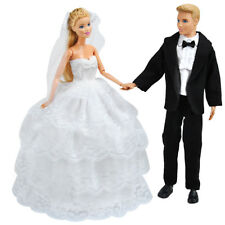 Handmade Doll Clothes Wedding Dress Gown + Formal Suit For Barbie Ken Dolls K
