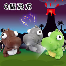 3D Cute dinosaur Light Up LED Torch With sound Keyrings KeyChain TOYS UKYS82