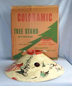 Vintage Poloron Coloramic Christmas Tree Stand Mod. 398 & Original Box