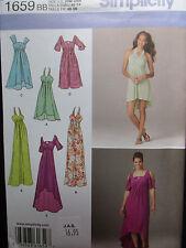 1659 Simplicity Womens Long Summer Strapless Full Sleeve Dress Pattern UC 20-28