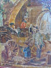altes Gemälde__Kutsche am Tor __signiert__ !