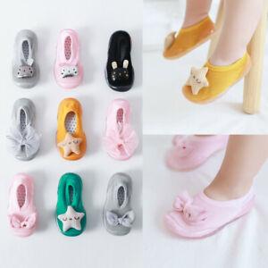 Toddler Baby Girls Kids Rabbit Soft Sole Rubber Shoes Socks Slipper Stocking