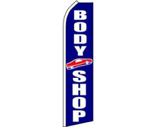 Body Shop Blue / White Swooper Super Feather Advertising Flag