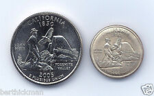 Uncirculated 2005 P or D CA Quarter, magnetically SHRUNK to diameter of a dime!