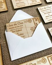 Wooden Personalised Engraved Save the Date Rustic Postcard Magnets Wedding