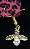 New Pink Enamel Cute Girl Honey Bee Crystal Betsey Johnson Women Stand Earrings