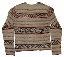 POLO Ralph Lauren Da Uomo Indiano HAND Knit Sweater Lino Seta Lana Color Cachi Marrone L