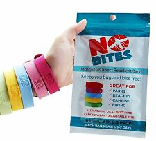NoBite All Natural Mosquito Repellent Bracelets 5 Pack No Deet Long Lasting, New