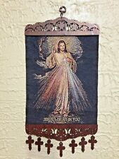 """""""DIVINE MERCY TAPESTRY"""" Scrolled wood & Cross's   NEW in pkg, MAGNIFICENT!"""
