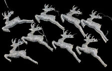 Set Of 8 Silver Glitter Reindeer Christmas Tree Hanging Ornament Decorations