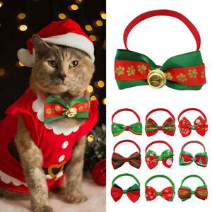 100pcs Christmas Xmas Dog Cat Accessory Bow Tie Adjustable Necktie Collar Bowtie