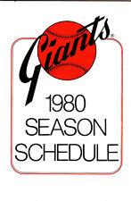1980 SAN FRANCISCO GIANTS BASEBALL POCKET SCHEDULE