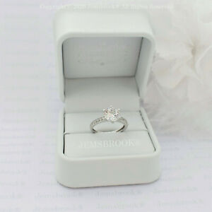Diamant Ring Pave Akzenten 2 Karat Sterlingsilber Platin Finish Größe N 1/2 - 7