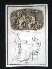 Claudio, Messalina, Crono Incisione colorata a mano del 1820 Mitologia Pozzoli