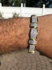 Mens Custom Bracelet 14k Yellow Gold Over Solid 925 Silver 12ct Manmade Diamonds