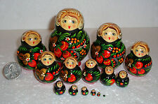 """UNIQUE HANDPAINTED Nesting Doll ~15pc~3.5"""" mini~GORGEOUS~MADE IN RUSSIA"""