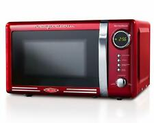 Retro 0.7 Cu Ft Countertop Microwave Oven Digital Clock Metallic Red 700 Watt