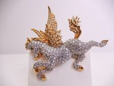 Signed Swarovski Brooch Pegasus Pave Crystal Gold Plated