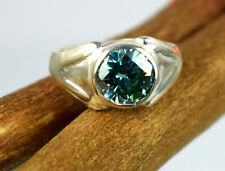 Round 5.32 Ct Certified Blue Diamond Solitaire 925 Sterling Silver Ring