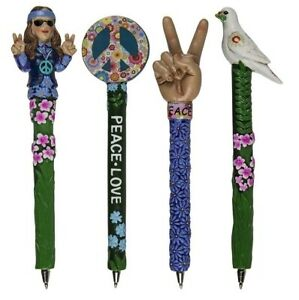 Polyresin Peace Neuheit Stift- 4 Verschiedene Designs Hippie, Cnd , Peace, Taube