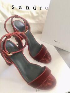 #savingglory SANDRO PARIS $445 Rust Velvet Platform Open Toe High Heels 40 Au 9