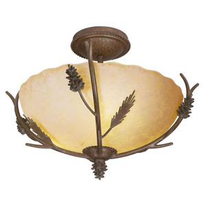 Semi-Flush Mount Lodge Sunset Glass Shade Rustic Pinecone Decor 3-Light 17 in.