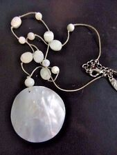 MOTHER OF PEARL PENDANT AND BEADED STRAND NECKLACE BY NY CONTEMPORARY