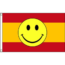 Spain Smiley Face Flag 5Ft X 3Ft Spanish Eurovision Smile Banner With 2 Eyelets